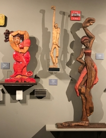Left: Red Lady by LaVon Williams, 2018. Middle: Dancer by LaVon Williams with Dave Henry, 2009. Right: Racine by LaVon Williams, 1993(or 8).